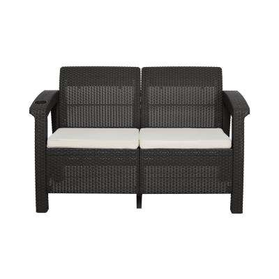 Ferrara Espresso Plastic Conversational Patio Loveseat with a Light Beige Cushion and a Cup Holder