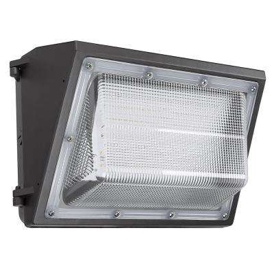 14 in. Black Outdoor Integrated LED Wall Pack Light 250-Watt Equivalent Photocell Compatible