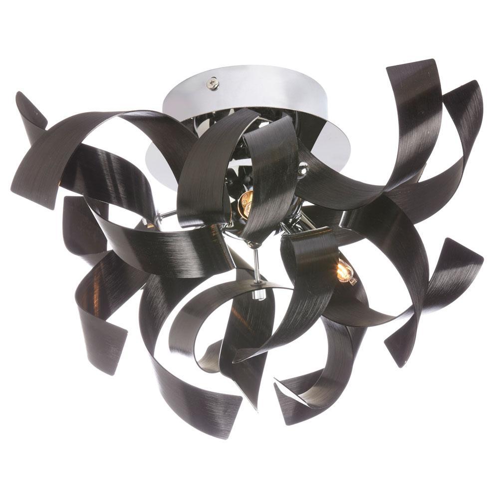 3-Light Black Semi-Flushmount