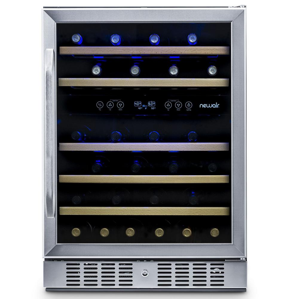 NewAir Dual Zone 46-Bottle Built-In Compressor Wine Cooler Fridge Quiet Operation and Beech Wood Shelves - Stainless Steel
