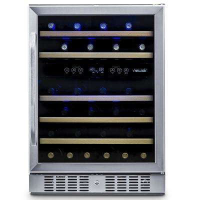 Dual Zone 46-Bottle Built-In Compressor Wine Cooler Fridge Quiet Operation and Beech Wood Shelves - Stainless Steel