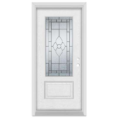 36 in. x 80 in. Traditional Left-Hand Patina Finished Fiberglass Oak Woodgrain Prehung Front Door Brickmould