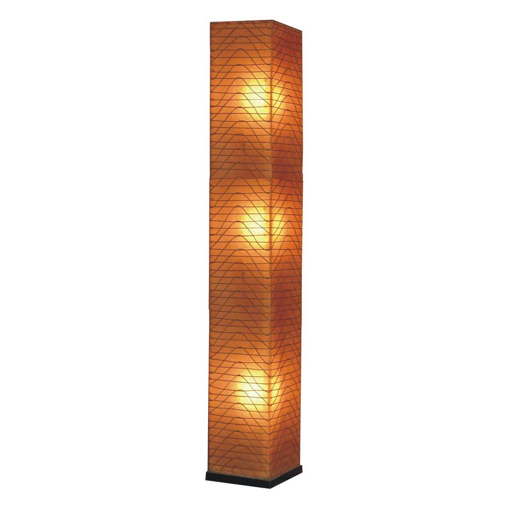 Jeffan Wave Square 77 in. Standing Lamp in Amber Fiberglass with Natural Rattan Accent-DISCONTINUED