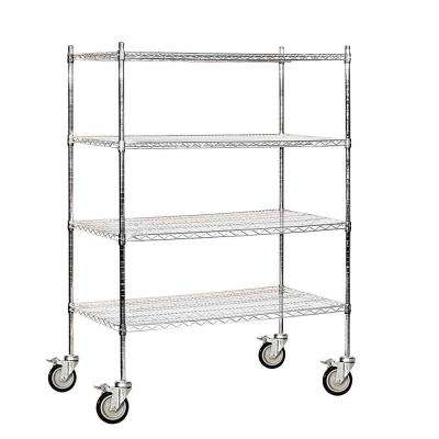 48 in. W x 69 in. H x 24 in. D Industrial Grade Welded Wire Mobile Wire Shelving in Chrome