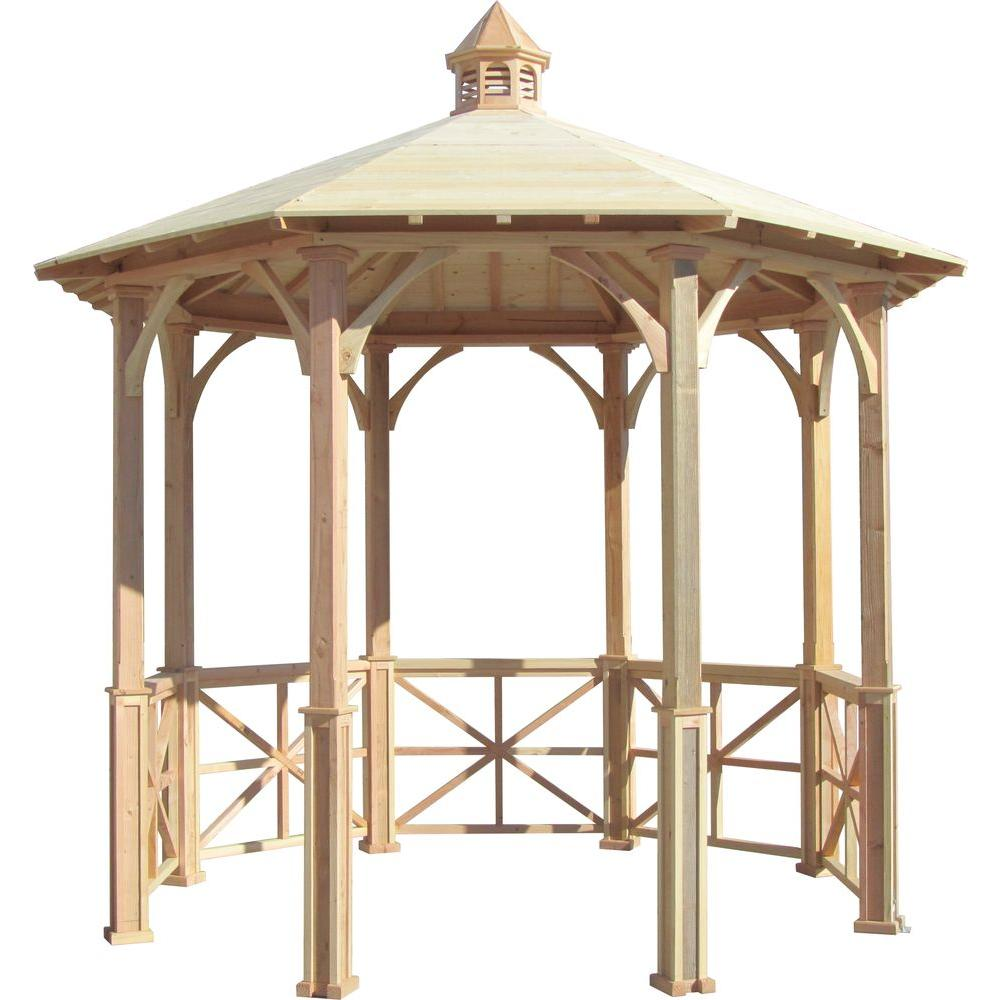 10 ft. Octagon English Cottage Garden Gazebo with Cupola - Adjustable