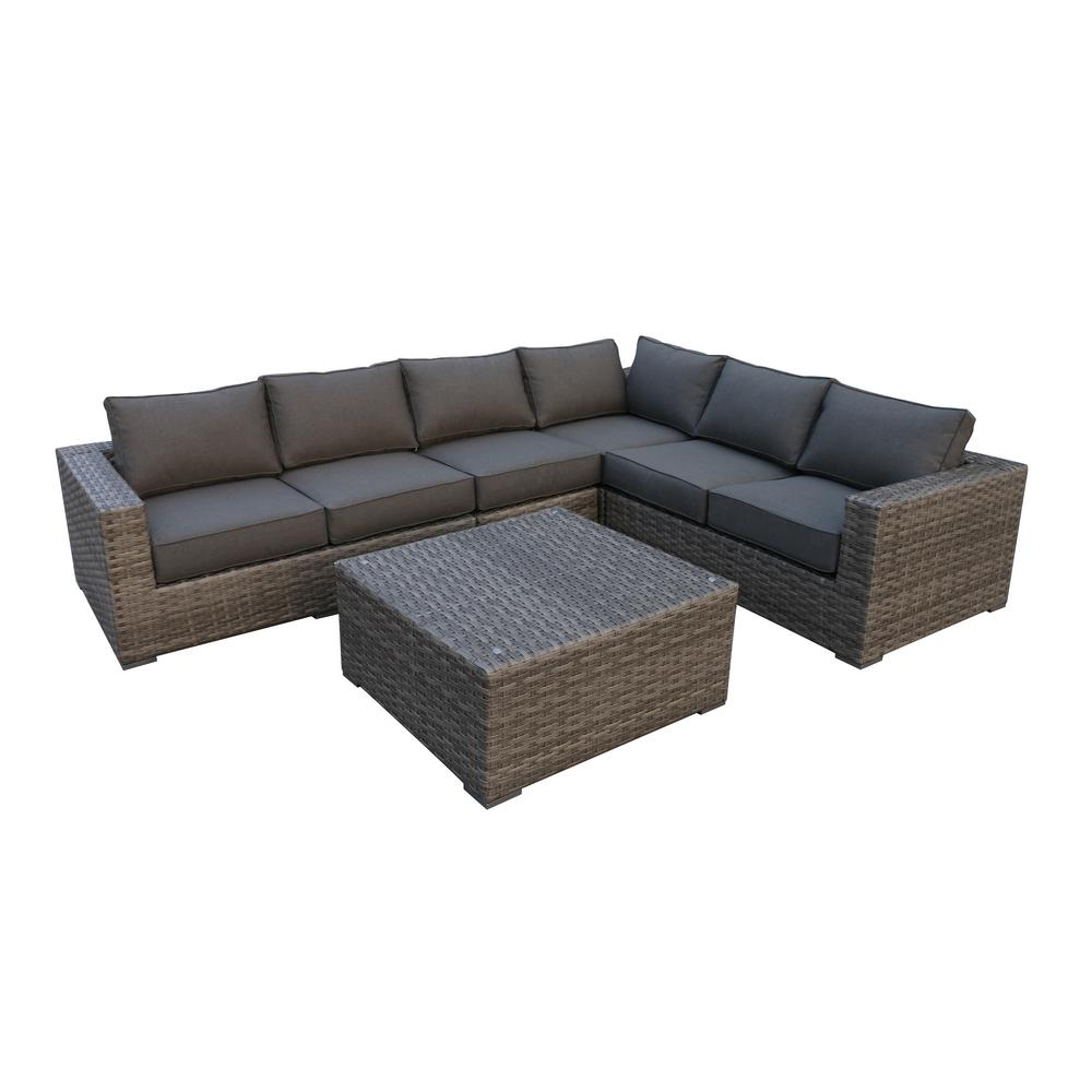 Envelor Bali 5-Piece Wicker Patio Sectional Seating Set with Olefin Charcoal Grey Cushions