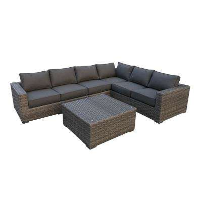 Bali 5-Piece Wicker Patio Sectional Seating Set with Olefin Charcoal Grey Cushions