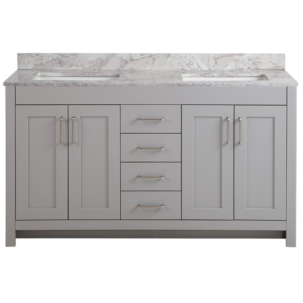 Home Decorators Collection Westcourt 61 in. W x 22 in. D Bath Vanity in Sterling Gray with Stone Effect Vanity Top in Winter Mist with White Sink