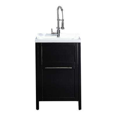 Eleni All-In-One Kit 24 in. x 22 in. x 37.8 in. Acrylic Utility Sink with Cabinet in Espresso