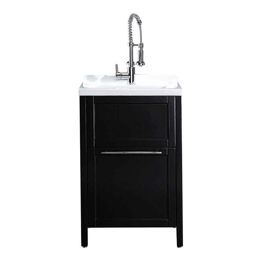 Schon Eleni All-In-One Kit 24 in. x 22 in. x 37.8 in. Acrylic Utility Sink with Cabinet in Espresso