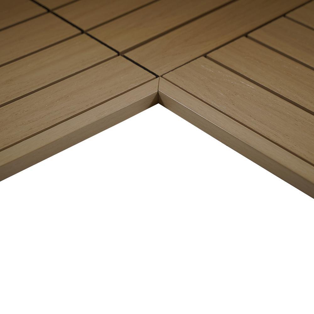 1/12 ft. x 1 ft. Quick Deck Composite Deck Tile Inside End Corner Fascia in Japanese Cedar (2-Piece/Box)