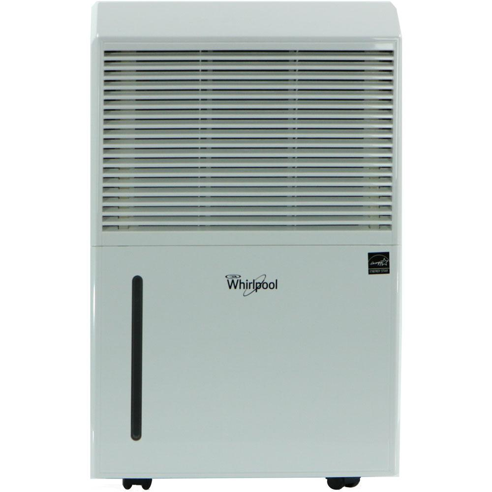 Whirlpool 50-Pint Dehumidifier, Whites Protect your home and family from the dangers of mold and mildew caused by excessive dampness with Whirlpool dehumidifiers. This Whirlpool 50-Pint portable room dehumidifier removes up to 50 Pint s of moisture from the air per day in a room up to 1000 sq. ft. Featuring the trouble-free drain connect you won't have to worry about emptying the water bucket. All you need is a standard garden hose (not included) and a low-level drain for worry-free operation. Plus, easy-rolling caster wheels allow you to conveniently move the unit from room to room, providing relief when and where you need it. Trust Whirlpool to help you care for your family and your home. Color: Whites.