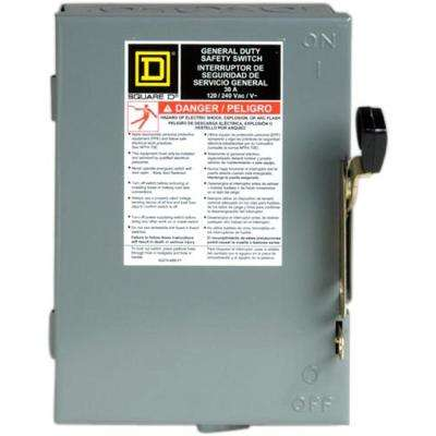 30 Amp 240-Volt 2-Pole 3-Phase Fused Indoor General Duty Safety Switch
