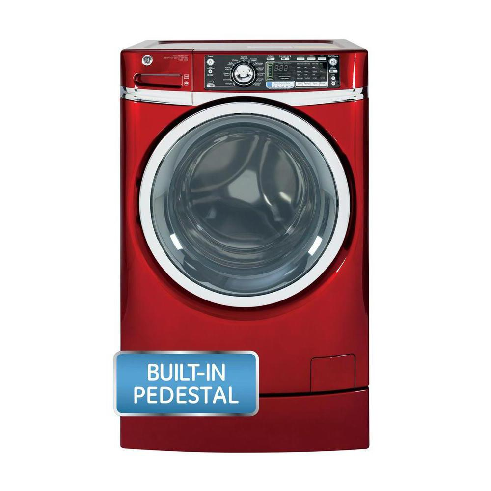 GE 4.8 DOE cu. ft. High-Efficiency Right Height Front Load Washer with Steam in Ruby Red, ENERGY STAR, Pedestal Included
