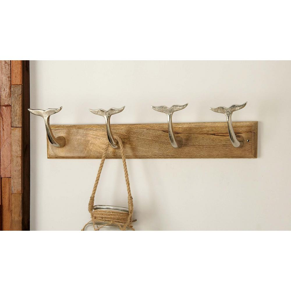 24 in. x 6 in. Modern Aluminum and Wood Wall Hook