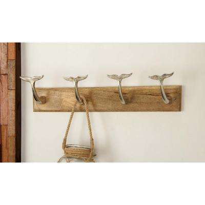24 in. x 6 in. Modern Aluminum and Wood Wall Hook in Silver and Brown