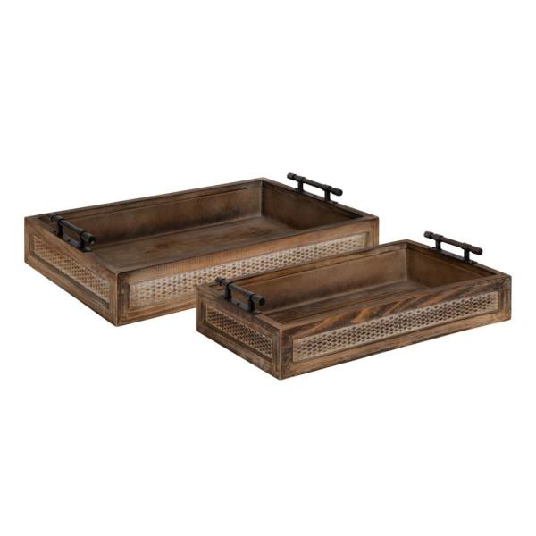 Kate and Laurel Bayport Brown Decorative Tray (Set of 2) 214435
