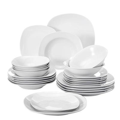Elisa White Porcelain 24-Piece Casual Ivory White Porcelain Dinnerware Set (Service for 6)