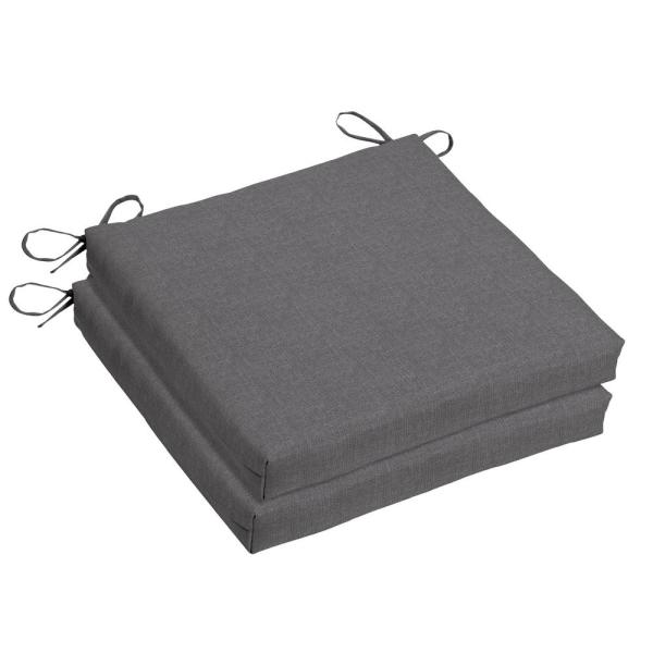 18 x 18 Sunbrella Cast Slate Outdoor Dining Chair Cushion (2-Pack)