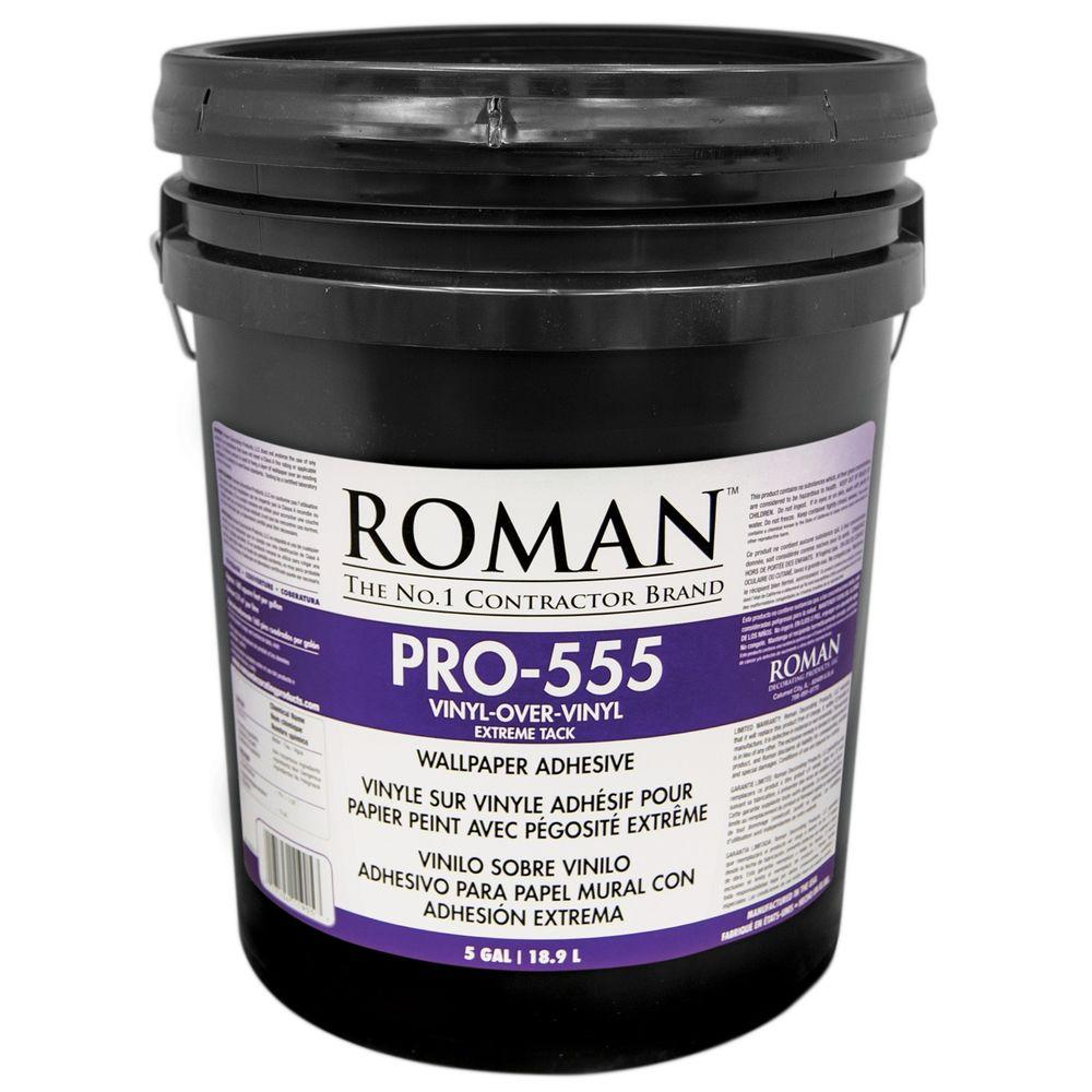 Roman pro 555 5 gal extreme tack wallpaper adhesive for Wallpaper paste home depot