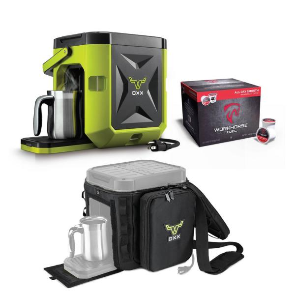 OXX COFFEEBOX High Viz Green Single Serve Coffee Maker with Accessory
