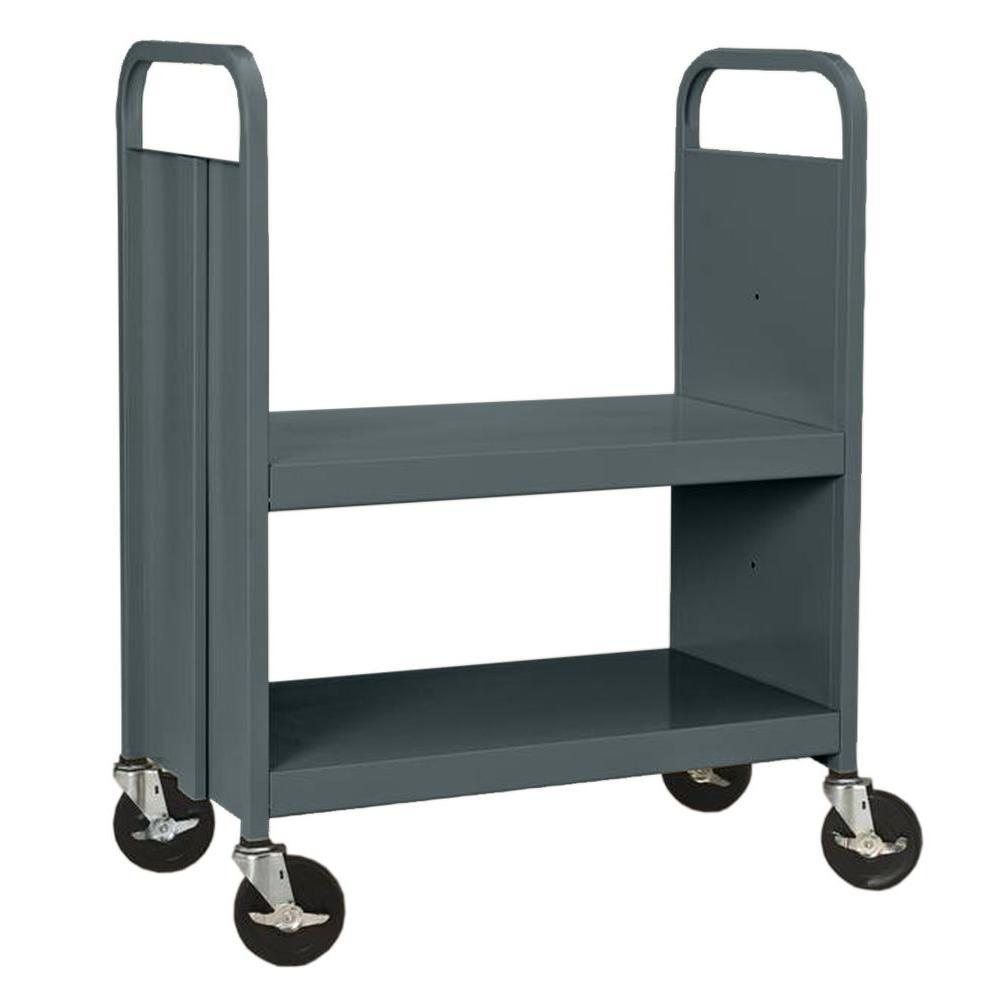 Sandusky 33 in. W x 18 in. D x 40 in. H Heavy Duty Steel Flat Shelf Book/Utility Truck