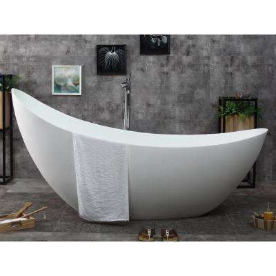 74 in. Stone Resin Flatbottom Bathtub in Matte White