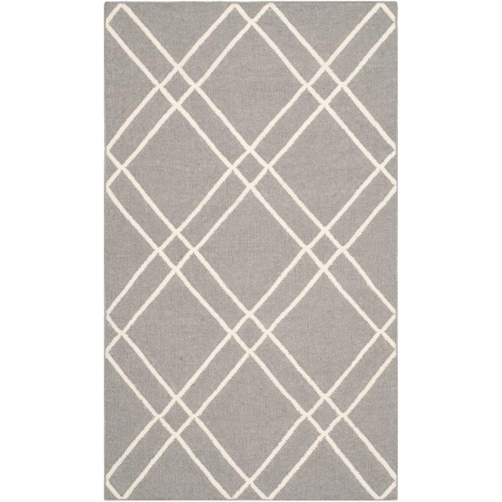 Safavieh Dhurries Grey/Ivory 3 ft. x 5 ft. Area Rug