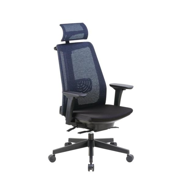 Boss Black Contemporary Mesh Executive Chair with Headrest B6990-BK-HR