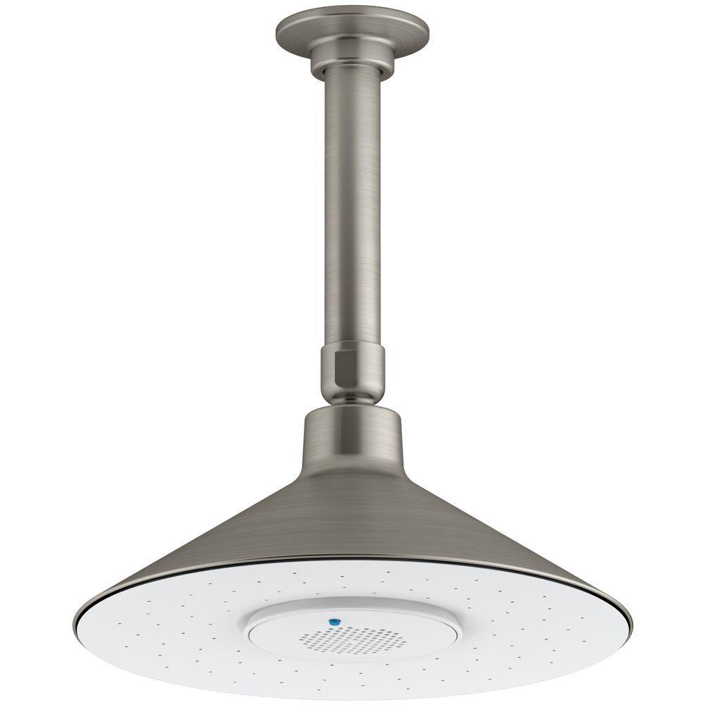 Moxie 1-Spray 3.125 in. Rainhead with Wireless Speaker Showerhead in Vibrant Brushed Nickel