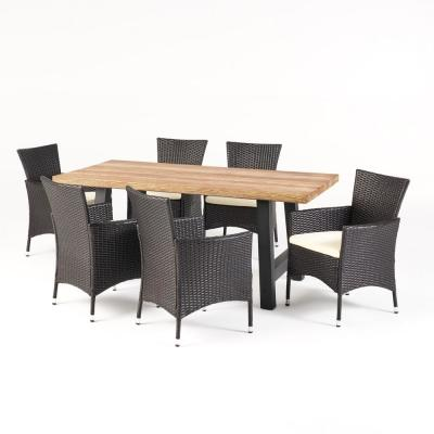 Sina Multi-Brown 7-Piece Faux Wicker Rectangle 30 in. Outdoor Dining Set with Beige Cushions