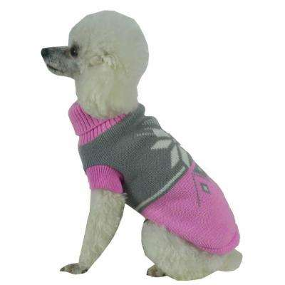 Medium Pink and Grey Snow Flake Cable-Knit Ribbed Fashion Turtle Neck Dog Sweater