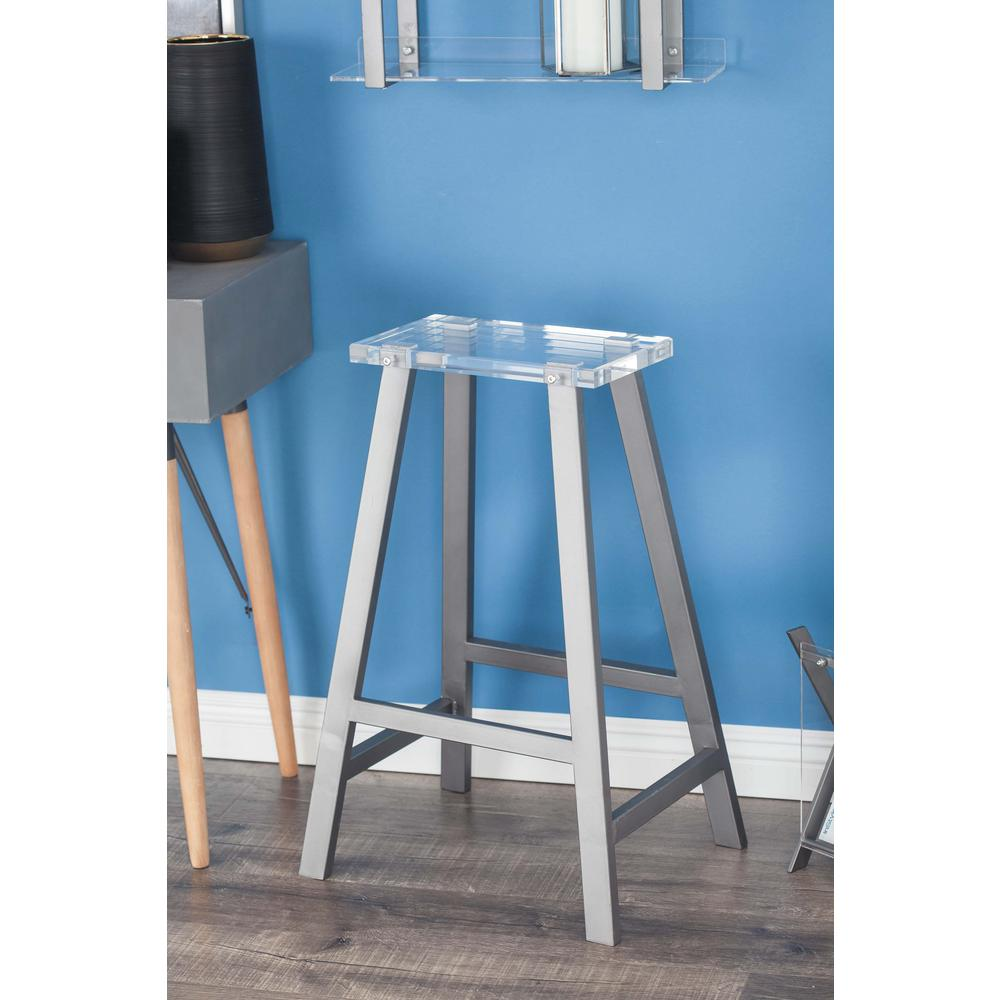28 in. x 18 in. Metal and Acrylic Gray A-Shaped Stool-84397 - The ...