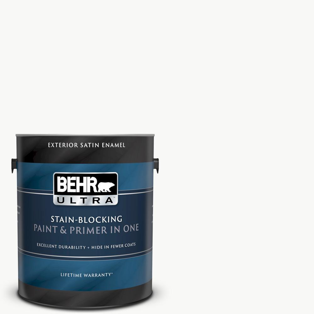 BEHRULTRA BEHR ULTRA 1 gal. Ultra Pure White Satin Enamel Exterior Paint and Primer in One