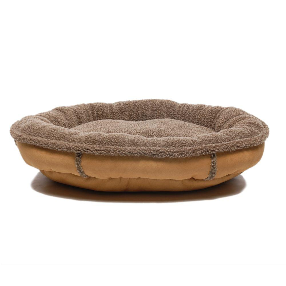 Medium Tan Faux Suede and Tipped Berber Round Comfy Cup