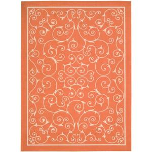 Nourison Home and Garden Pavilion Orange 7 ft. 9 inch x 10 ft. 10 inch Indoor / Outdoor... by Nourison