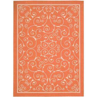 Home and Garden Pavilion Orange 8 ft. x 11 ft. Indoor / Outdoor Area Rug