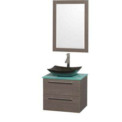 Amare 24 in. Vanity in Gray Oak with Glass Vanity Top in Green, Granite Sink and 24 in. Mirror