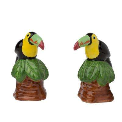 Toucan 3 oz. Muilticolor Ceramic Salt and Pepper Shakers with Figural Shapes