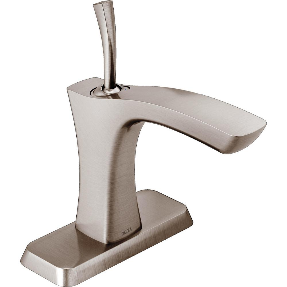 Delta Tesla Single Hole Single Handle Bathroom Faucet In Stainless 552lf Sslpu The Home Depot