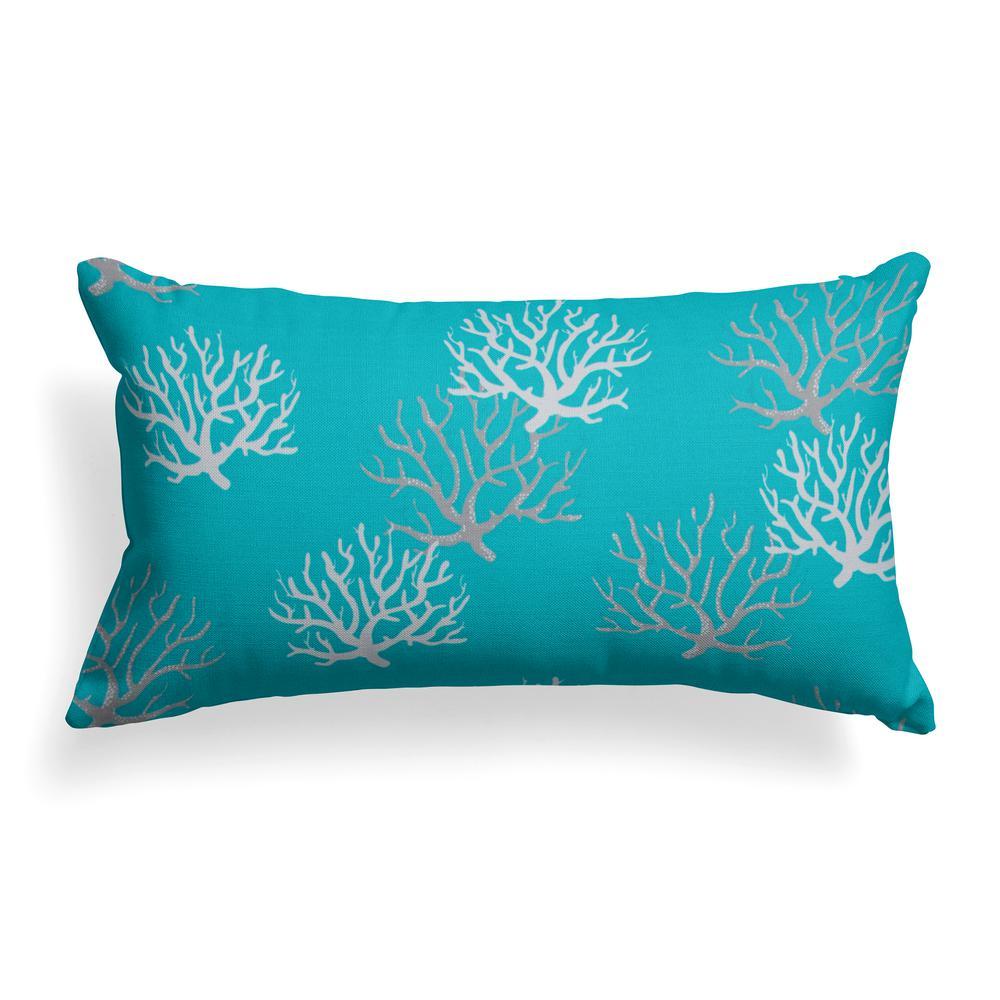 Grouchy Goose Reef Turquoise Lumbar Outdoor Throw Pillow