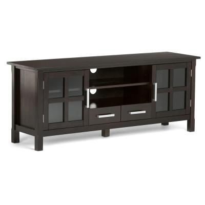 Kitchener 60 in. Hickory Brown Wood TV Stand with 2 Drawer Fits TVs Up to 66 in. with Storage Doors