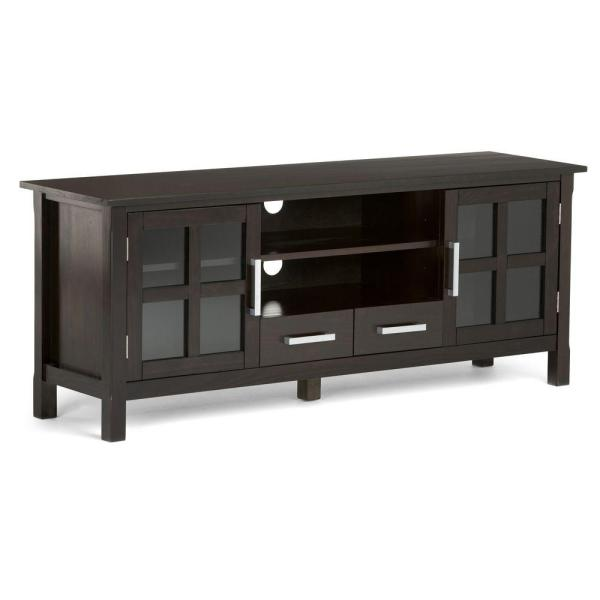 Simpli Home Kitchener 60 In Hickory Brown Wood Tv Stand With 2 Drawer Fits Tvs Up To 66 In With Storage Doors Axcrkit60 Hic The Home Depot