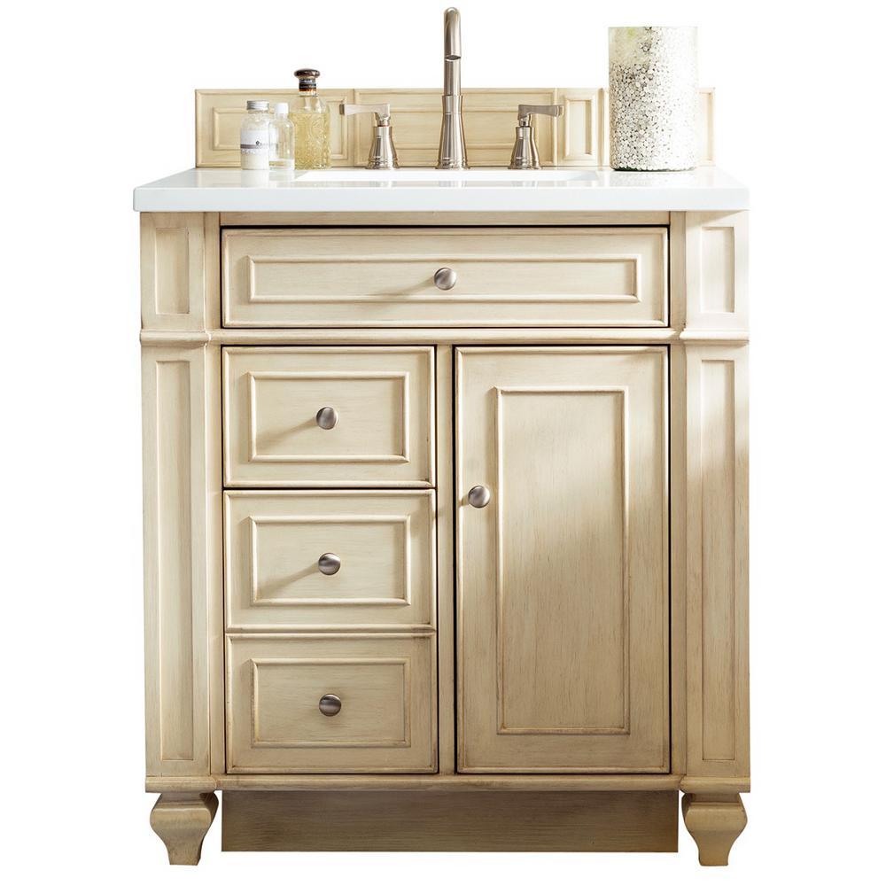 Bristol 30 in. W Single Bath Vanity in Vintage Vanilla with Quartz Vanity Top in Classic White with White Basin