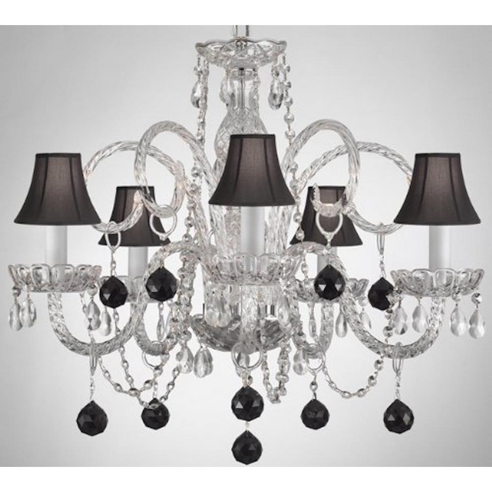 Empress Crystal 5 Light Clear Chandelier With Black Shades And