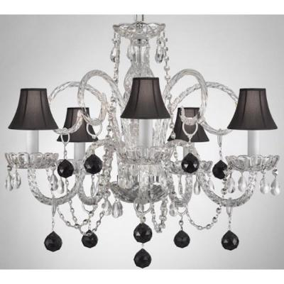 Empress Crystal 5-Light Clear Chandelier with Black Shades and Black Crystal Balls
