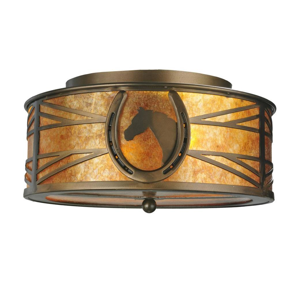 Illumine 2 Horseshoe Flushmount Antique Copper Finish Mica Glass