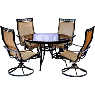 Monaco 5-Piece Aluminum Outdoor Dining Set with Round Glass-Top Table and Contoured Sling Swivel Chairs