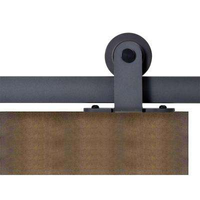 Top Mount 72 in. Matte Black Barn Style Sliding Door Track and Hardware Set
