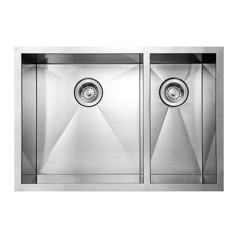 Whitehaus Collection Noah's Collection Undermount Brushed Stainless Steel 29 in. 0-Hole Double Bowl Kitchen Sink